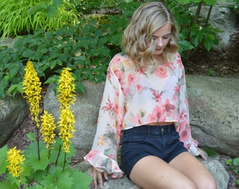70's-Inspired Sheer Floral Top - Long Sleeve