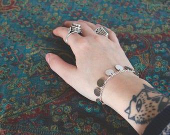 Bracelet Gypsy / Bohemian and silver pendants