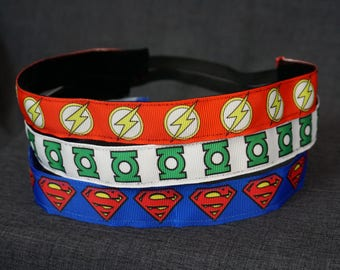 DC Comics Inspired Non-slip Headband - Green Lantern, The Flash, Superman
