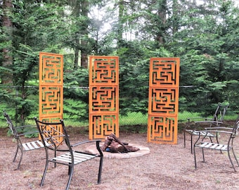 3 Large Garden Panels     Privacy      Screen   Maze Pattern    Trellis   Rusted Metal Art