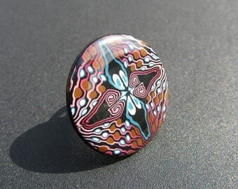 Ring made of polymer clay. Round ring. Ring fimo. Original ring.