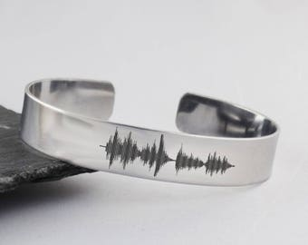Sound Wave Cuff Bracelet - Stainless Steel - Engraved Audio File Heartbeat Actual Audio File Music Song