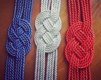 Red Knot belt sailor on silk cord