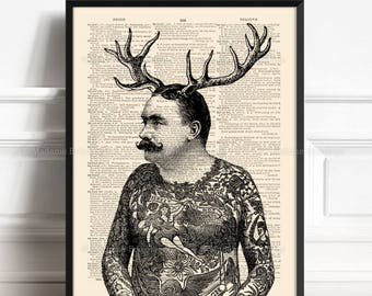 Man With Antlers, Hipster Deer Art, Antlers Art Prints, Mother Xmas Gift, Gift For Her, Hipster Tattoos, Love Gift For Him, Reclaimed 227