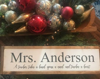 Teacher Gift, Personalized Teacher, Wood Sign,