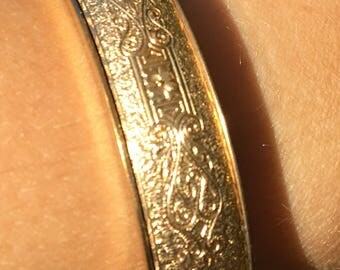 Gold engraved bangle bracelet