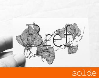 Clearance sale - Short - love - illustrated card with message monocot - drawing - sweet pea - limited edition-
