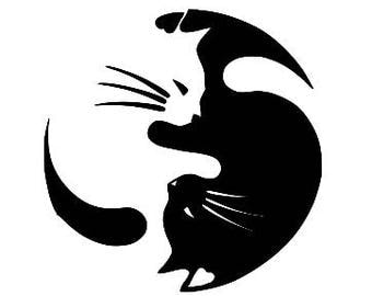 CATS Yin Yang Cat Lovers Vinyl Decal Sticker Free Shipping Yeti Window Car Laptop Wine Glass Coffee Beer Mug Frame Sports Bottle Sticker