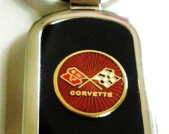 Classic Corvette C3 Black Onyx & Silver Keychain-Free Engraving