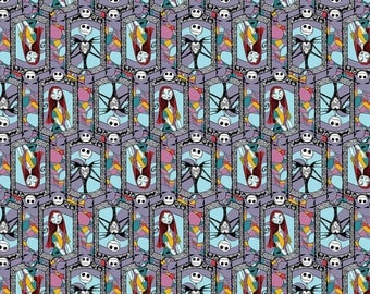 Disney's Nightmare Before Christmas Sally and Jack Stained Glass Cotton Fabric from Springs Creative licensed fabric by the yard or metre