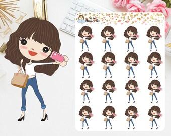 Dark Hair girls planner stickers (P2)
