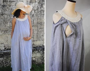 Maternity Dresses, Nursing Dresses, Breastfeeding Dress, Maternity Gown, Summer Dress, Grey Linen Dress, Linen and Cotton Dress with Crochet