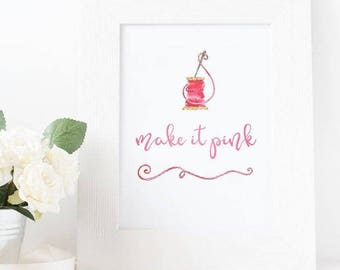 Disney Print || Sleeping Beauty || Make it Pink || Make it Blue || Quote Print || Wall Art || Printed Cardstock