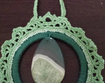 Crocheted AnyTime Ornament with green stone pendant  inventory clearance