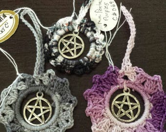 Crocheted  3 small AnyTime Ornaments with pentacle charms  inventory clearance