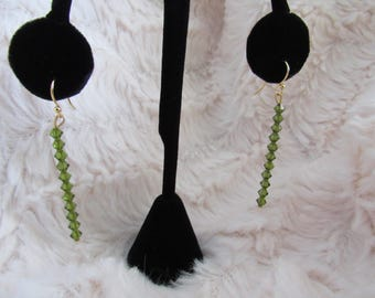 Green Swarovski Beaded Earrings