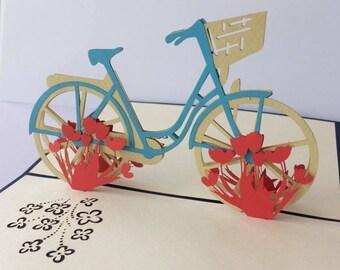Tulip bike- 3D pop up greeting card