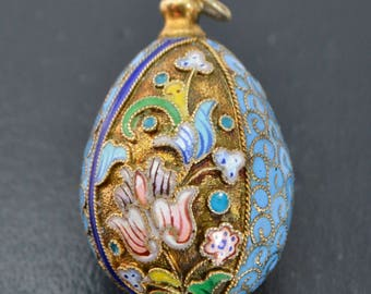 Larger SILVER Gilt & Cloisonne Enamel Floral Flowers RUSSIAN EGG Pendant - Heavy