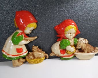 Vintage Homco Decor Pair of Hard Plastic Girls Caring for Cat & Giving the Dog a Bath 1977 Brightly Colored Wall Art