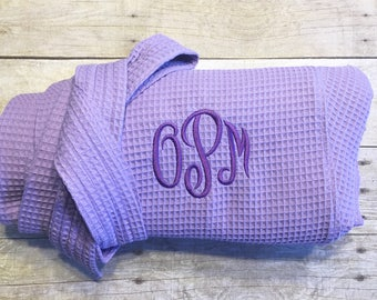 Monogrammed robe, lavender purple robe, hospital robe, waffle weave spa robe, gift for mom, gift under 25, gift for her, gift for grandma