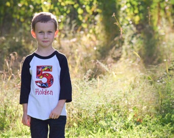 Superhero birthday shirt, boys birthday shirt, superhero birthday party, camisa cumpleaños, raglan, name and number personalized shirt