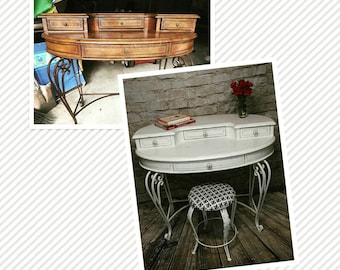 Antique desk and matching stool