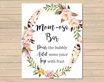 Floral Wreath Boho Momosa Bar Sign, Momosa Bar Printable Baby Shower Sign, Floral Boho Momosa Bar Sign, Feathers, Instant Download 027-W