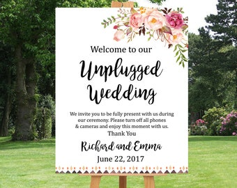 Boho Tribal Unplugged Wedding Printable Sign, Pink Floral Unplugged Wedding Sign, Tribal Unplugged Welcome Sign No Cell Phone Download 109-W