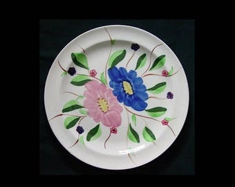 "Blue Ridge Plate CUMBERLAND 10.25"" Dinner Serving Dish SPI Hand Painted Pink Yellow Cobalt Blue Pottery Bargain Beauty (B18) 7811"