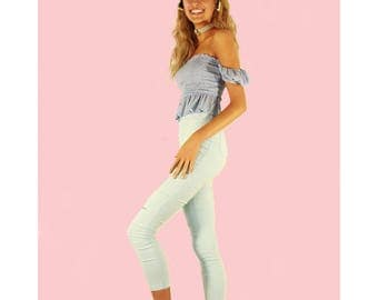 California Skinny Blues Pant ~ Size 8 || featured here with Take Me As I Am Top & Shell Headpiece