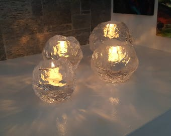 Kosta Boda Snowball Group - Large, 2 Medium, Small - Ann Wärff - Ann Wolff - Swedish - Boxes - 1970s - Votive Holders - Tea Lights - (Grp 3)