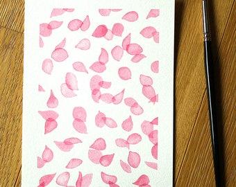 Flower Petal Watercolour - Original Painting - Flower Petals Original Art - Watercolour - Floral Artwork - 6 x 8 - Wall Art - A5 - Pink