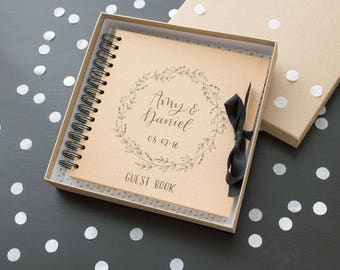 Personalised guest book | kraft wedding guest book | hen do | christening | custom names | hand lettered