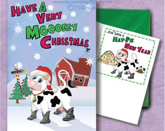 Moo Cow Christmas Card