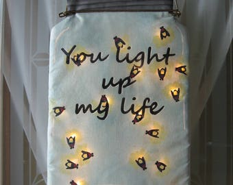 You light up my life - primitive firefly/lightening bug canning jar door hanger/wall hanger