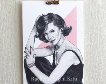 Natalie Wood, old hollywood, vintage, portrait, art print, print, actress, 1950s, west side story, pink,