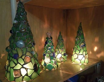 Tiffany stained glass green sea glass Christmas tree - home decor figurine candle holder OOAK gift