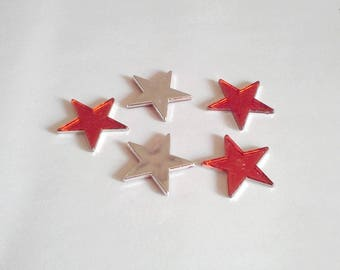 Stars decorative red 3 cm 5 branches