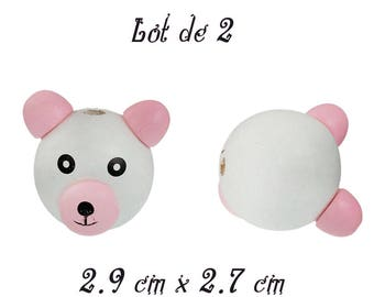 Pearl tab bear 3D white and pink