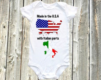 Made in the USA with Italian parts - Funny Baby onesie,  one-piece bodysuit shirt, italy, america, usa, italian, american, patriotic