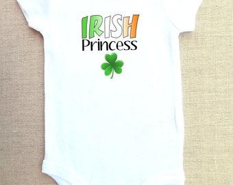 Irish princess baby onesie and bodysuit,  one-piece shirt, irish onesie, shamrock onesie, St. Patrick's Day onesie