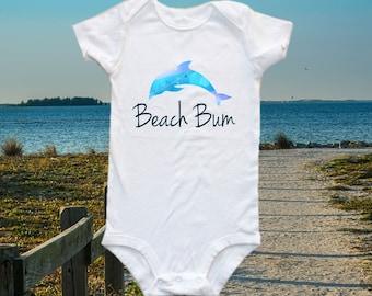 Beach Bum Baby one-piece bodysuit shirt -dolphin shirt - dolphin onesie - beach onesie