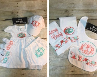 Complete baby girl set, baby girl gift set, baby shower gift, shower gift, personalized baby outfit, monogrammed baby outfit, personalized