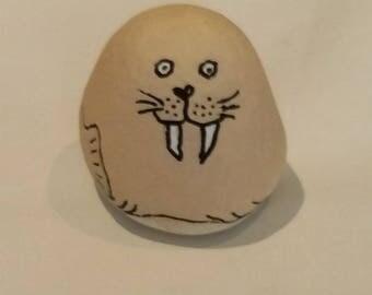 "handmade 3D hand drawn Beach Pebble ""Walrus"""