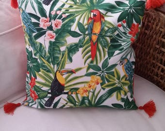 Cushion cover tropical two-faced 40 x 40 with tassels