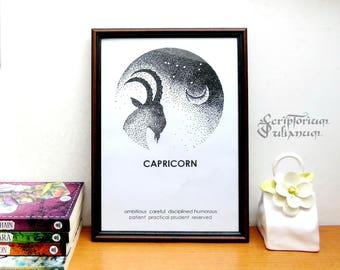 Capricorn print, Astrology download wall art, January birthday gift, male Capricorn star sign, Capricorn constellation poster, Zogiac gift