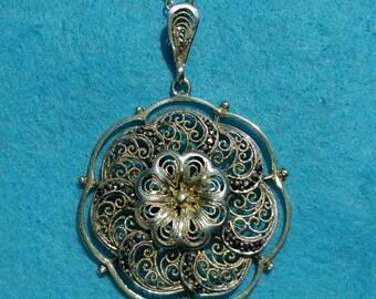 Art Nouveau silver pendant with necklace
