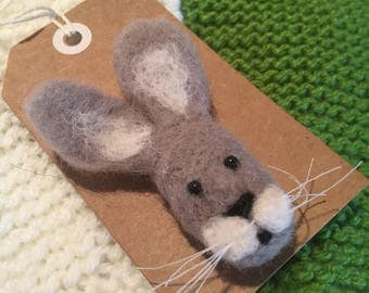 Needle Felted Hare Brooch (various styles)