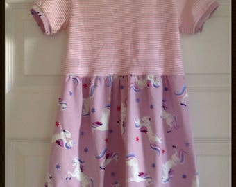 Girls pink unicorn dress, pretty pink unicorn dress, Unicorn jersey dress, Unicorn summer dress age 3-4 yrs
