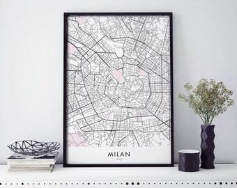 Milan Italy Art, City Map Print Wall Art | A4 A3 A2 A1